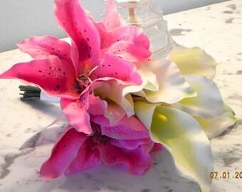 "Bridal Bouquet,Wedding  keepsake, Affordable, 2 Pieces, Silk Calla Lilies, Stargazer Lilies,  Boutonniere, ""Bountiful Bouquets""  #101"