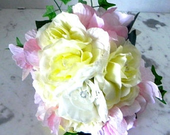 """A Bridal  Bouquet, Pretty,  Affordable, Roses, Hydrangeas, Cream, White, Pink,   Boutonniere 2 Pieces  """"Bountiful Bouquets""""BB#102"""