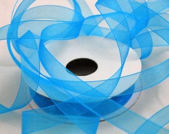 """5/8"""" Organza Ribbon - Turquoise - 25 yard Spool"""