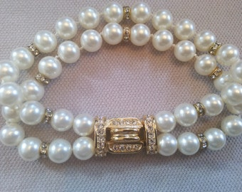 Stunning glass Pearl Cut Crystal Rhinestone Bracelet 1980's