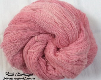 SALE Hand dyed Laceweight Knitting or Crochet yarn. 'Pink Flamingo' Colorway.