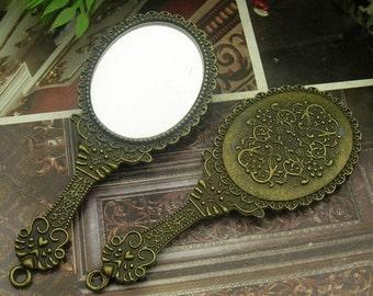 1pcs Antiqued Vintage Bronze Merchandises Mirror Charms / Pendants 32X77MM