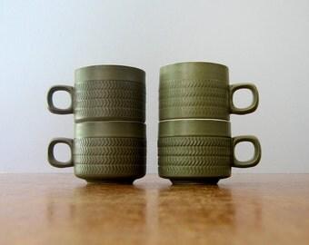 Four Vintage 70's Modern Denby Chevron Cups