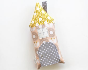 Tooth Fairy Pillow House Pillow Peach Yellow Gray Floral Polka Dot Girls Children Stuffed Toy Secret Door Keepsake