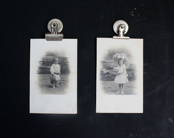 Victorian Photo Postcards - Beach Seaside Children - Boy and Girl - Set of Two Antique Photographs