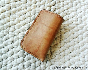 100% hand stitched handmade camel marbled pattern cowhide leather lighter / car fob / car key remote / iPod / case / holder