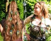 PEACOCK HAIR PIECE peacock feather clip hair extension 2 hair falls Fantasy Wedding hair jewelry Custom color hair piece Elf Fairy Bride