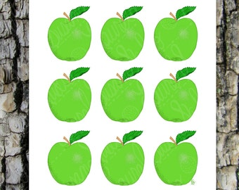 Green Apples Printable Art, Hand Drawn Art, Kitchen Food Fruit Digital Wall Art, PNG, JPG, PDF