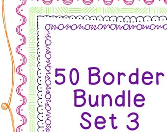 50 Borders Multicolor Clip Art Bundle Set 3, PNG JPG, Blackline Included, Commercial or Personal, Braces, Swirls, Dots, Scallops