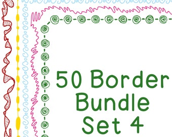 50 Borders Multicolor Clip Art Bundle Set 4, PNG JPG, Blackline Included, Commercial or Personal, Spiral, Drops, Wiggle