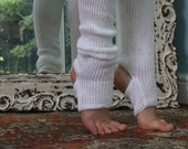 Yoga/Dancer's legwarmers - hand kranked and finished -SNOW WHITE - one size fits  yoga pilates knitted socks cotton blend