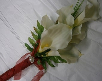 Red and White CALLA Bouquet. White lily Wedding Bridal Bridesmaid. Bridal Beach Destination Rustic Country Wedding.  Real Touch White Lilies
