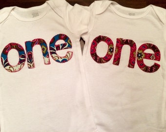 Twin First Birthday Onesie Set Customizable Set for Baby Boys or Girls