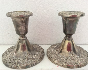 Pair Silverplate Candlesticks -  Shabby Chic -French Cottage - Paris Chic - Ornate Flowers - Vintage - Regency - Patina - Romantic Country