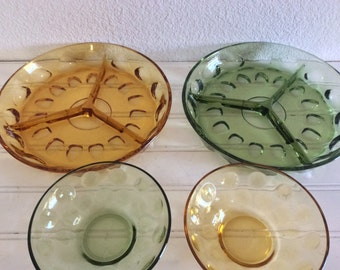 Green Glass Dishes - Amber Glass Serving Pieces - Midcentury Glass - Candy Dishes - Retro. - Small Bowls - Divided Dishes  - Avocado Gold-