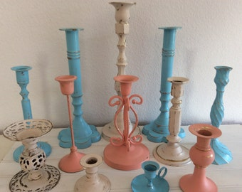 Aqua Coral Peach Candlestick Collection - Shabby Cottage Chic - Distressed - Centerpiece -Wedding - Set Of 12 - Antique White Cream