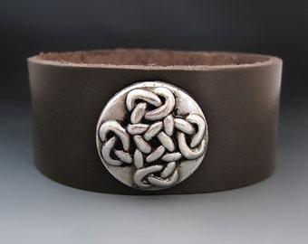 Celtic Cross Bracelet - Women's  Leather Cuff - Love Knot Bracelet
