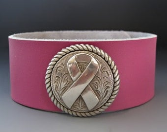 Awareness Ribbon Bracelet - Breast Cancer - Leather Cuff