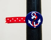 BosoBuddies - Blue Anchor w/ Red White Dots Ribbon (1210A-047)