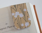 Magnetic Bookmark, Laminated Magnetic Bookmark, White Flowers, Floral Bookmark, Yellow White Black, Unique Elegant Gift