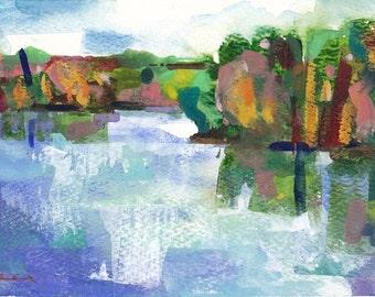 "Round Lake , original watercolor painting 7"" x 5"""