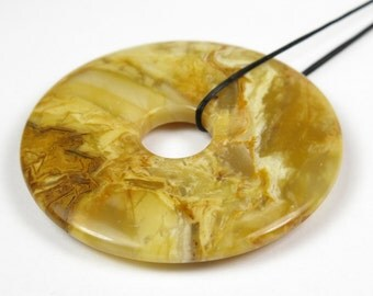 Large Ivory Jade Donut Focal Pendant Bead - 39mm x 5mm - B3051
