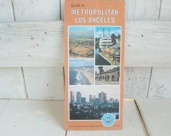 Vintage downtown Los Angeles road map California street guide 1980s