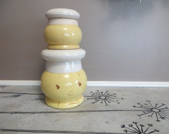 Kitchen Canisters Yellow Cookie Jar Flour Canister Sugar Bowl Candy Jar Yellow Stoneware Canister Set with Faces Cottage Chic Canister