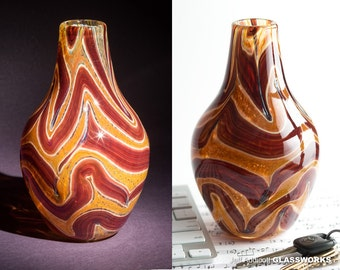 Unique Small Handblown Glass Vase - Brown and Ruby Swirls