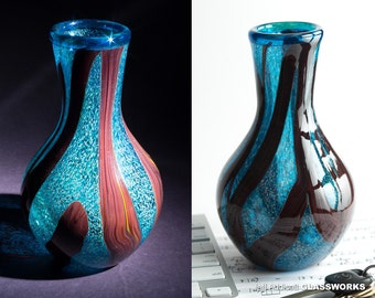 Hand Blown Glass Vase - Silver Blue with Mustard Speckles and Ruby Strokes