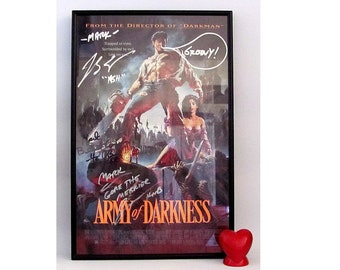 Vintage SIGNED Army of Darkness Movie Poster ASH Bruce Campbell Groovy Boomstick 1992
