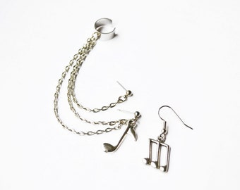 Silver Music Notes Double Pierce Ear Cuff Earrings (Pair)