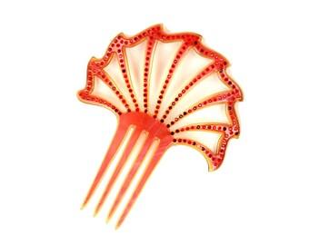 Vintage 1920's Fire Red Celluloid Art Nouveau Studded Rhinestone Cut Put Fan Hair Comb