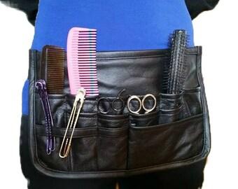 Black leather hairdresser apron