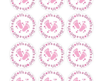 It's a Girl Stickers, Pink Baby Shower, Baby Girl Shower, Pink Baby Feet, Baby Stickers Pink, Hershey Kiss Stickers, Pink Shower Favor (416)