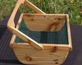 Handmade Wooden Garden Basket - M #1035