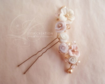 Hair Pin - Multicolor  Little Flowers - Floral Bouquet Bridal   - Floral Hair Pin Wedding Hair style -