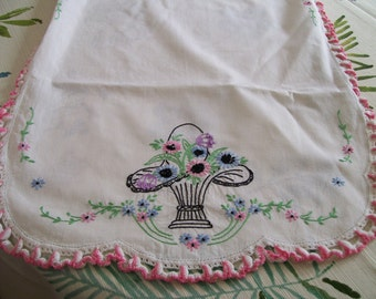 Vintage Embroidered Runner Crochet Border Hand Stitched Shabby Chic