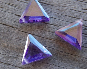 3 Purple Triangle Shaped Cubic Zirconia Beads 10mm