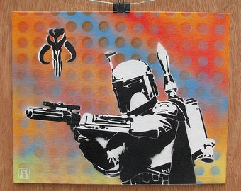 Boba Fett Multilayer Graffiti Stencil Art on Canvas Board 10x8