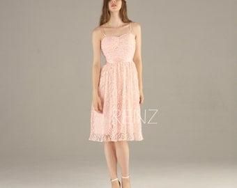 2015 Peach Bridesmaid dress, Blush Pink Lace Wedding dress Backless, Spaghetti Strap Party dress, A line Prom dress knee length (SL053)