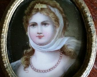 Miniature German Porcelain Portrait of Queen Louise