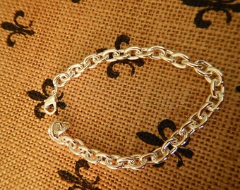 Bright Sterling Silver Plated Link Charm Bracelet Charms Jewelry