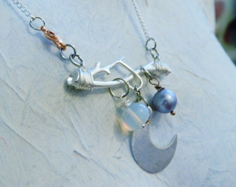 Moon necklace silver cresent half moon pendant boho opal lilac pearl twig necklace wedding necklace handmade ORDER ONLY