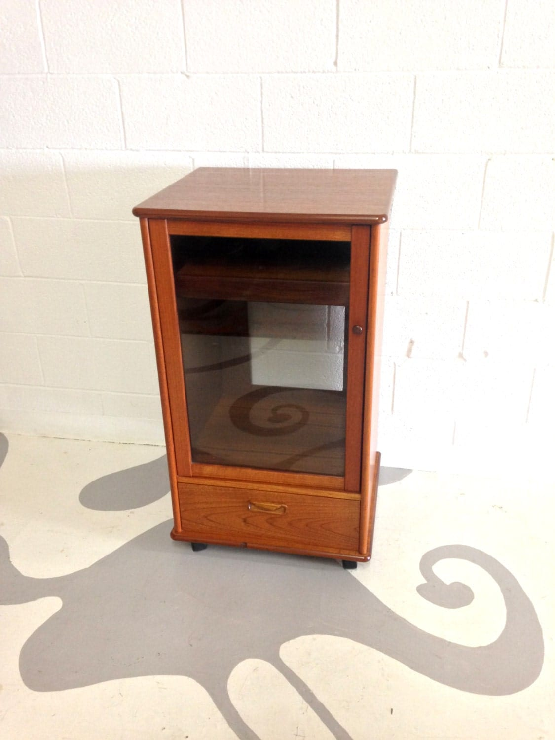 Mid century modern stereo cabinet in teak with glass door and for Modern cabinet doors