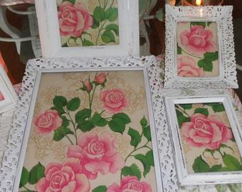 Designed by shabbyhome, Framed vintage paper   Framed Art   vintage frames   ROSES