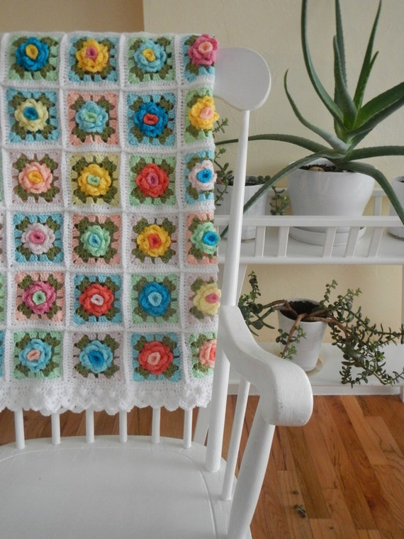 All 5 steps of the Granny Rose Pattern - Pastel Blanket (Instant Download)