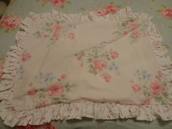 Simply Shabby Chic Pink Rose Pillow Shams QTY 2