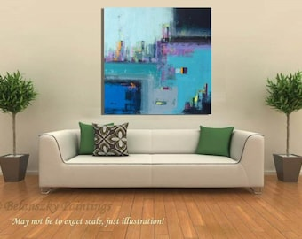 "Abstract acrylic painting - Two Cities - blue, turquoise, orange, purple, gray, red  -  39,4"" x 39,4"""