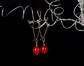 Cherry Red Jade Earrings Antique Brass Drop Earrings